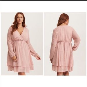 Torrid Blush textured wrap dress